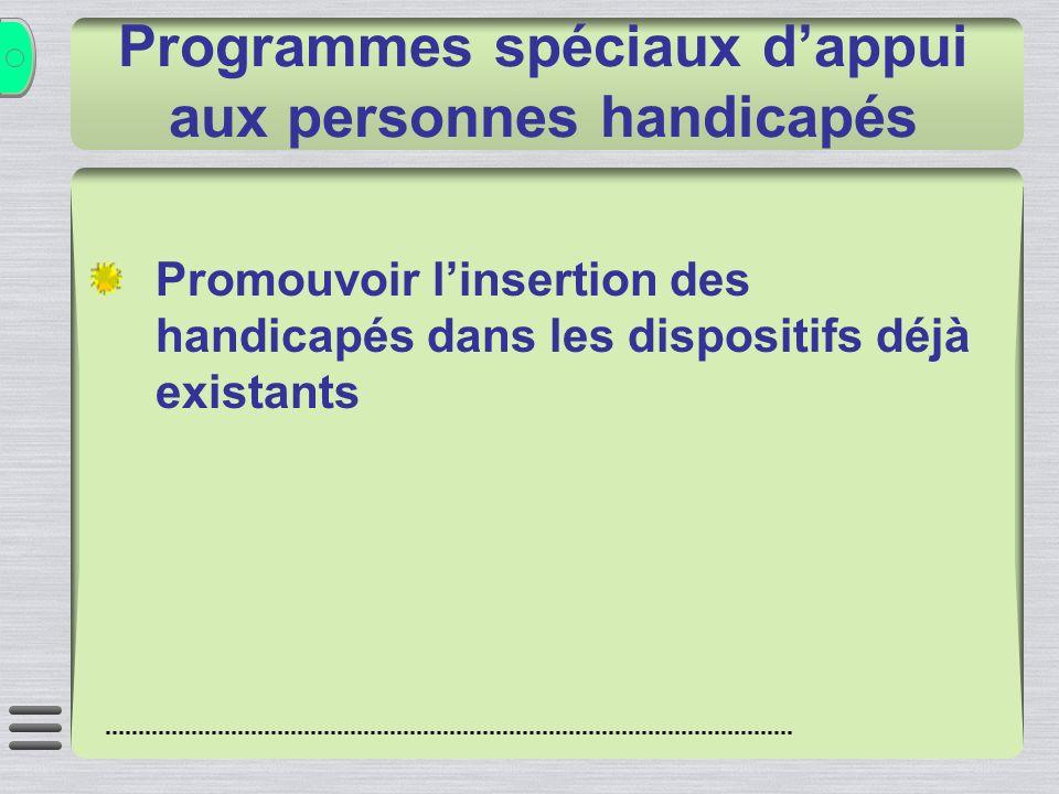Programmes spéciaux dappui aux personnes handicapés Promouvoir linsertion des handicapés dans les dispositifs déjà existants