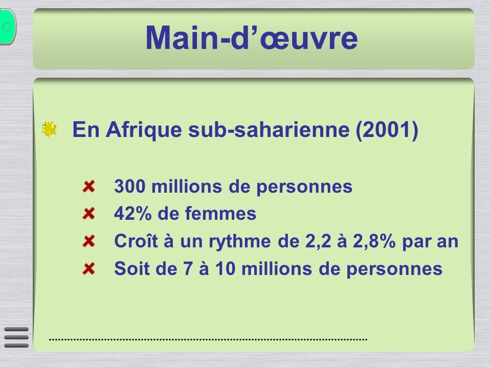 En Afrique sub-saharienne (2001) 300 millions de personnes 42% de femmes Croît à un rythme de 2,2 à 2,8% par an Soit de 7 à 10 millions de personnes Main-dœuvre