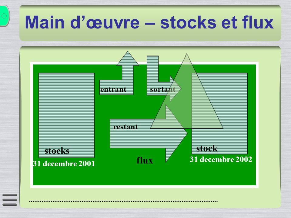 Main dœuvre – stocks et flux stocks 31 decembre 2001 stock 31 decembre 2002 entrant sortant restant flux