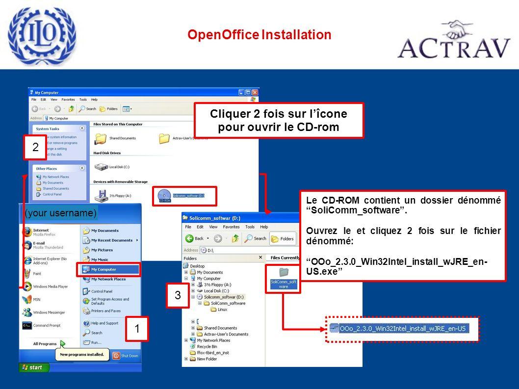 OpenOffice Installation (your username) Le CD-ROM contient un dossier dénommé SoliComm_software. Ouvrez le et cliquez 2 fois sur le fichier dénommé: O