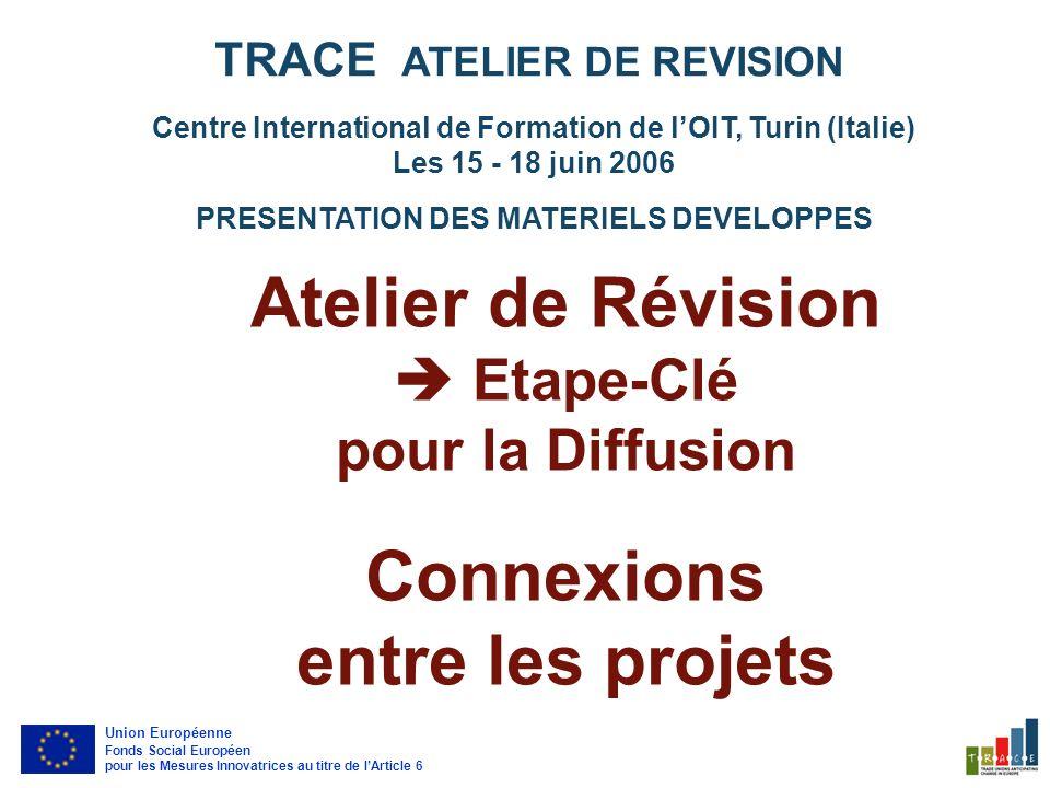 IDEES À fonctionnalité Stratégique IDEES À fonctionnalité Méthodologique Centre International de Formation de lOIT, Turin (Italie) Les 15 - 18 juin 2006 PRESENTATION DES MATERIELS DEVELOPPES TRACE ATELIER DE REVISION Union Européenne Fonds Social Européen pour les Mesures Innovatrices au titre de lArticle 6