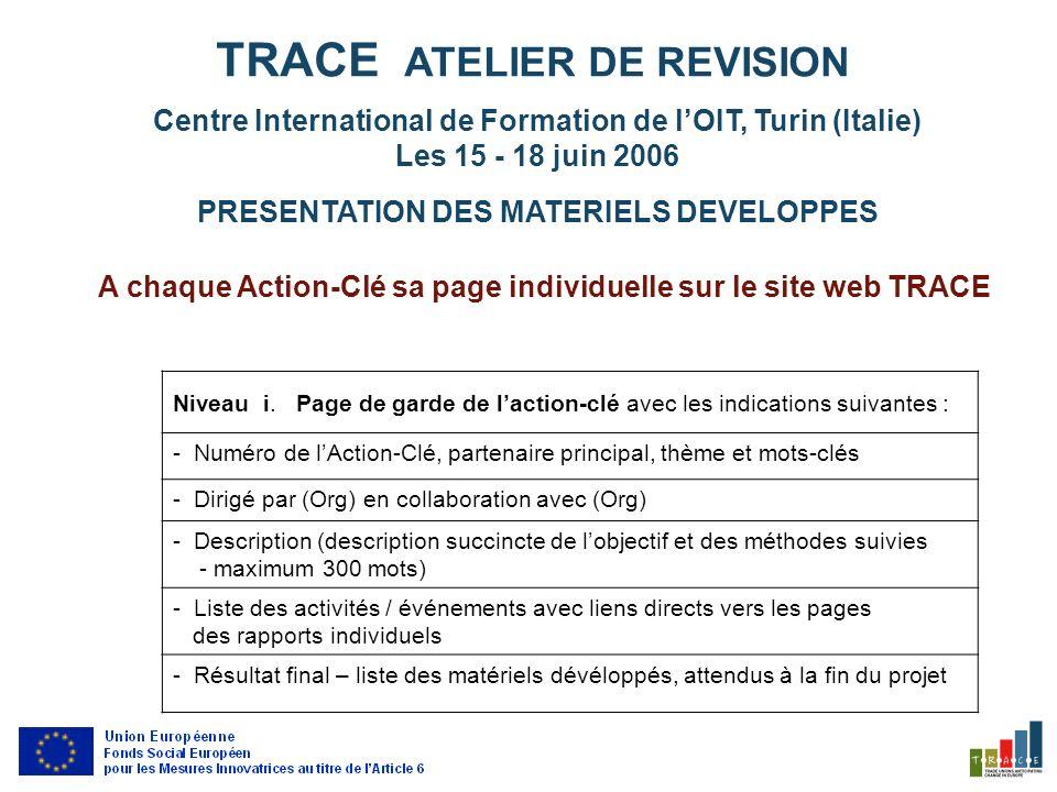 A chaque Action-Clé sa page individuelle sur le site web TRACE Niveau i.