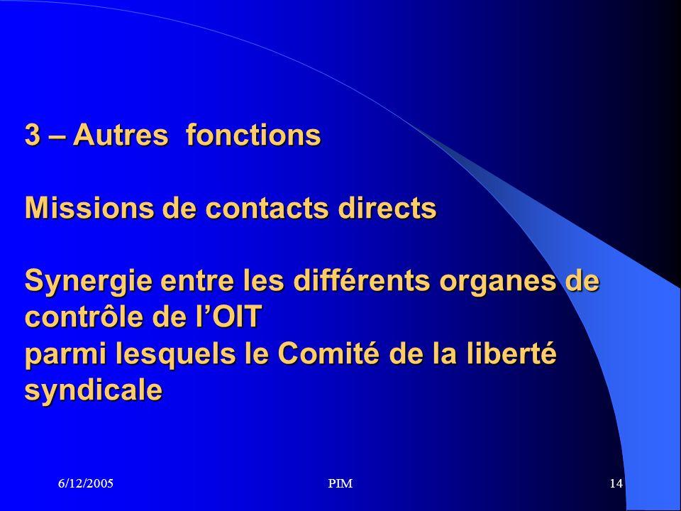 6/12/2005PIM14 3 – Autres fonctions Missions de contacts directs Synergie entre les différents organes de contrôle de lOIT parmi lesquels le Comité de la liberté syndicale