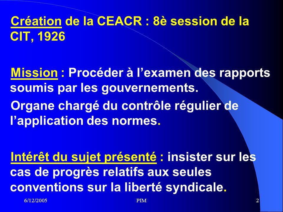 6/12/2005PIM13 Méthodes de travail de la CEACR (FIN) o La différence entre les 2 formes de commentaires est relative à la publicité.