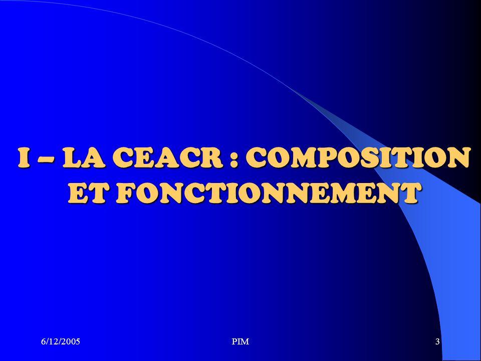6/12/2005PIM3 I – LA CEACR : COMPOSITION ET FONCTIONNEMENT