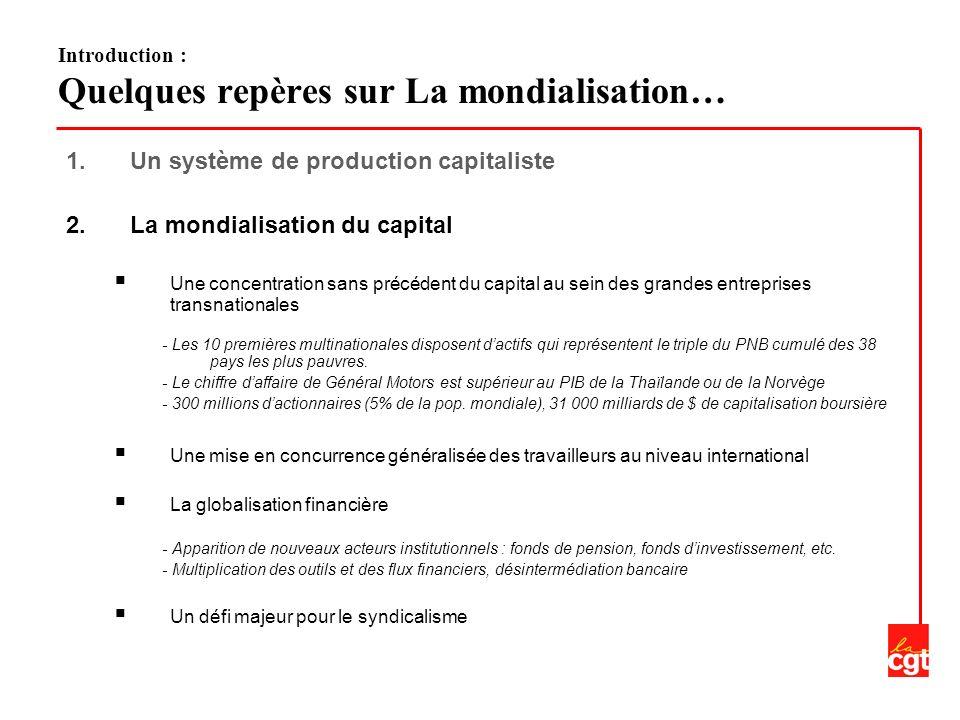 1.Un système de production capitaliste 2.La mondialisation du capital Une concentration sans précédent du capital au sein des grandes entreprises transnationales - Les 10 premières multinationales disposent dactifs qui représentent le triple du PNB cumulé des 38 pays les plus pauvres.