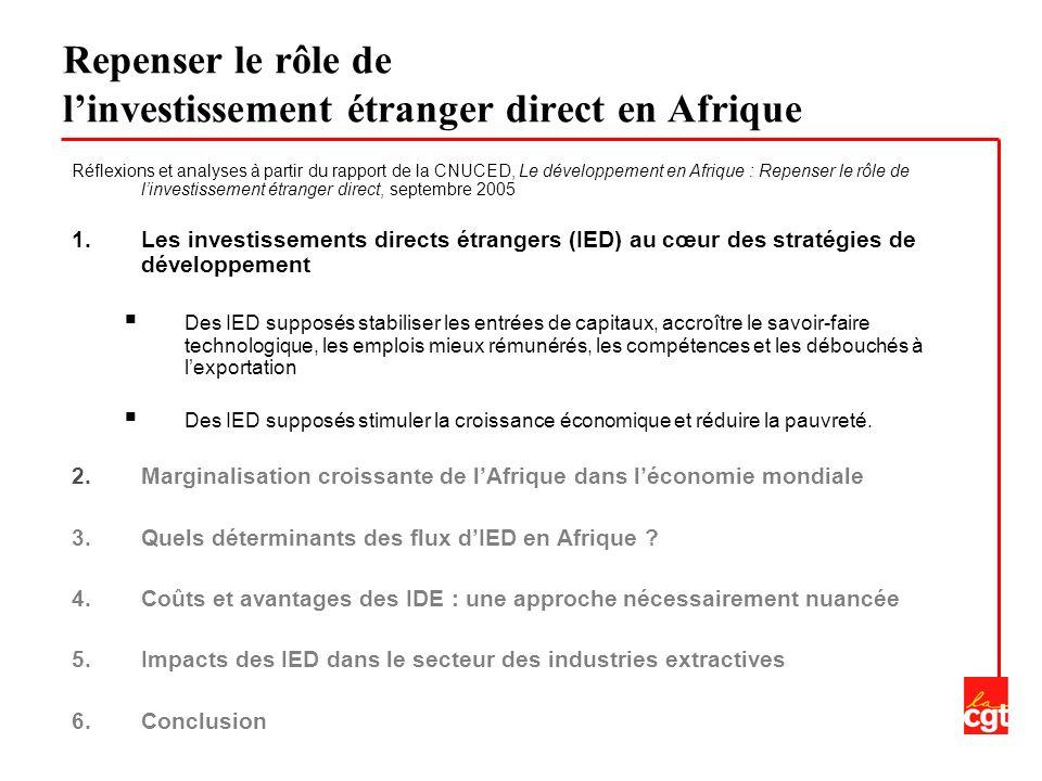 1.Les investissements directs étrangers (IED) au cœur des stratégies de développement 2.Marginalisation croissante de lAfrique dans léconomie mondiale Des flux dIED à destination de lAfrique en croissance mais représentant une part de plus en plus faible des flux mondiaux LAfrique reçoit entre 1 et 2% du total des flux mondiaux dIED, contre 4,4% en moyenne dans les années 70.
