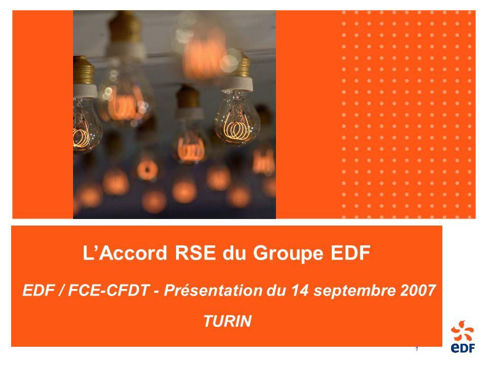 1 LAccord RSE du Groupe EDF EDF / FCE-CFDT - Présentation du 14 septembre 2007 TURIN