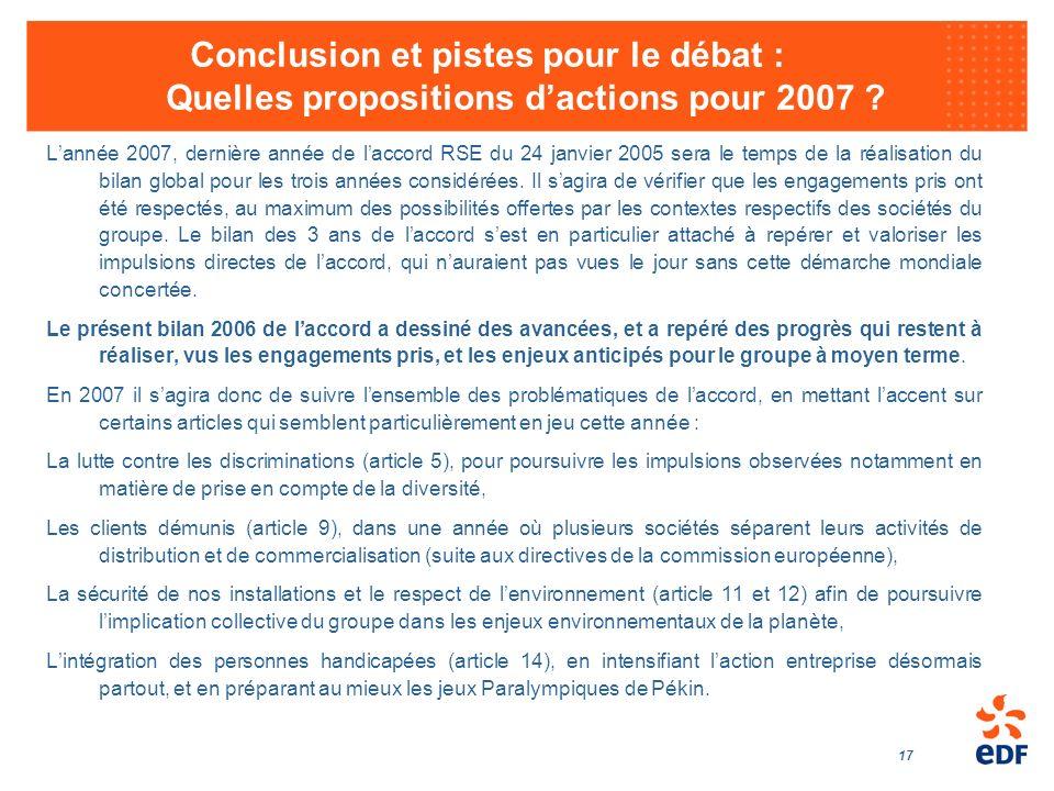 17 Conclusion et pistes pour le débat : Quelles propositions dactions pour 2007 ? Lannée 2007, dernière année de laccord RSE du 24 janvier 2005 sera l
