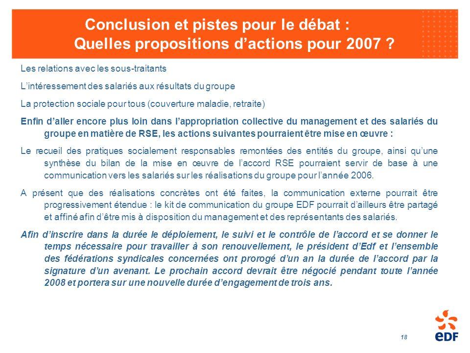 18 Conclusion et pistes pour le débat : Quelles propositions dactions pour 2007 ? Les relations avec les sous-traitants Lintéressement des salariés au