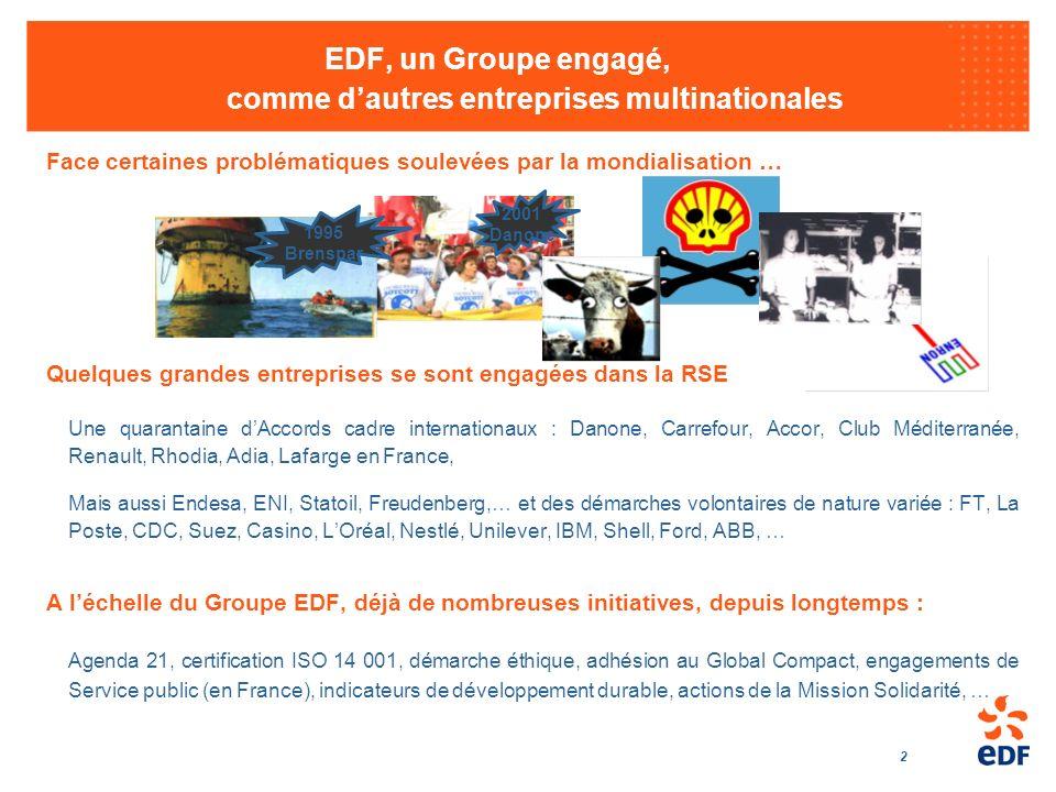 2 EDF, un Groupe engagé, comme dautres entreprises multinationales Quelques grandes entreprises se sont engagées dans la RSE Une quarantaine dAccords