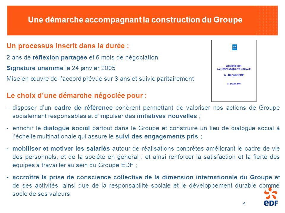 4 Une démarche accompagnant la construction du Groupe Un processus inscrit dans la durée : 2 ans de réflexion partagée et 6 mois de négociation Signat