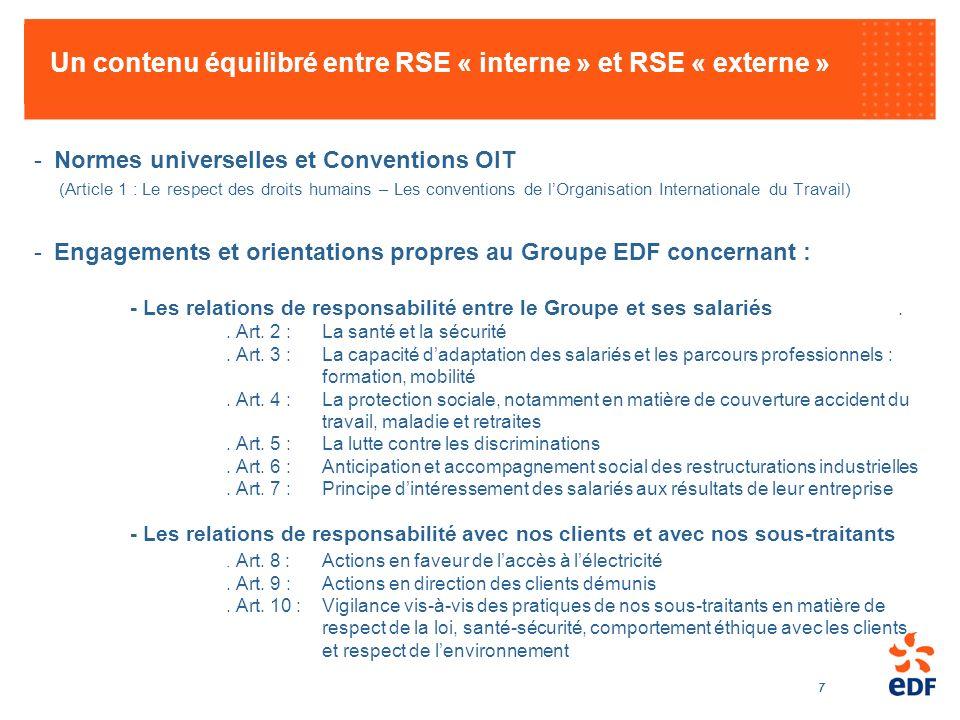 7 Un contenu équilibré entre RSE « interne » et RSE « externe » -Normes universelles et Conventions OIT (Article 1 : Le respect des droits humains – L