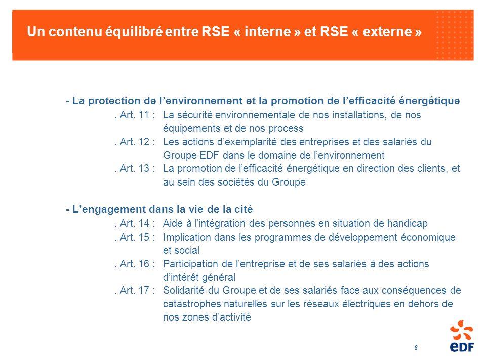 8 Un contenu équilibré entre RSE « interne » et RSE « externe » - La protection de lenvironnement et la promotion de lefficacité énergétique. Art. 11