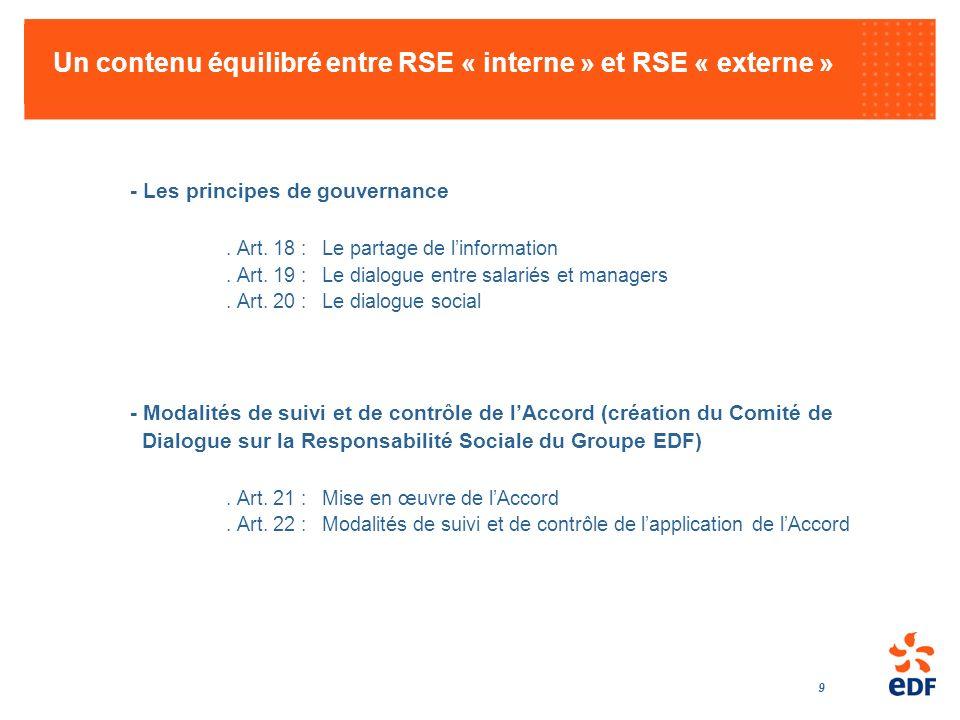 9 Un contenu équilibré entre RSE « interne » et RSE « externe » - Les principes de gouvernance. Art. 18 :Le partage de linformation. Art. 19 :Le dialo