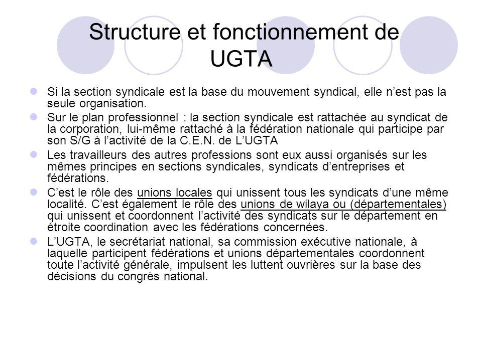 Structure et fonctionnement de UGTA Si la section syndicale est la base du mouvement syndical, elle nest pas la seule organisation.