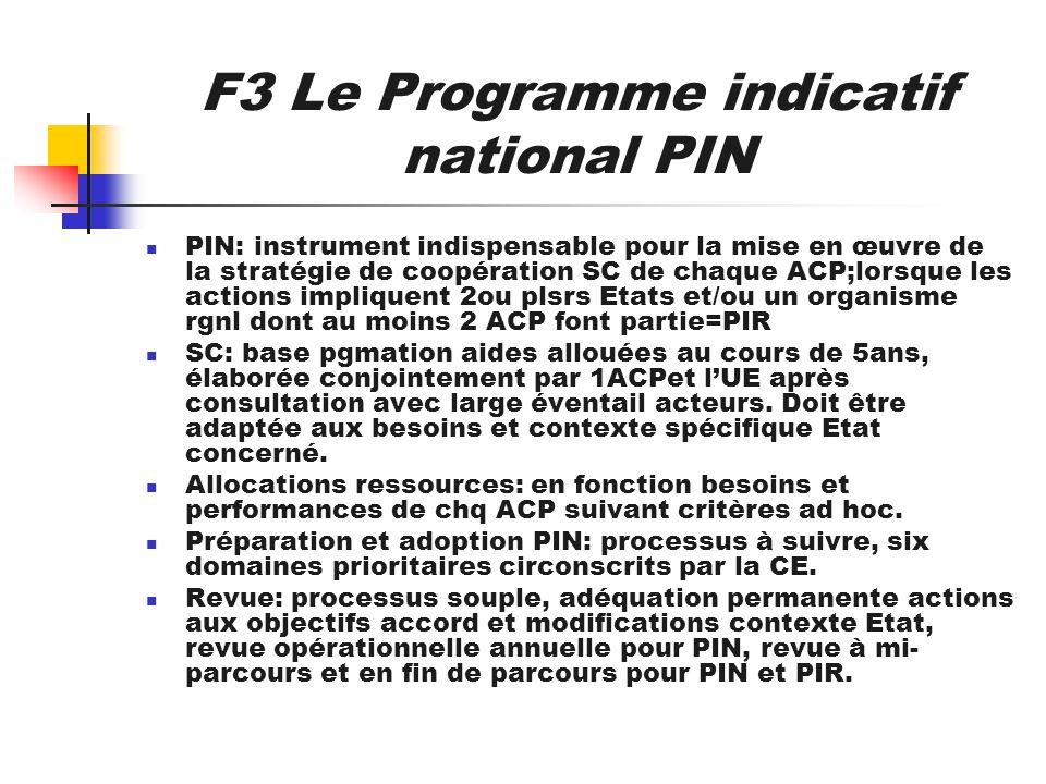 F3 Le Programme indicatif national PIN PIN: instrument indispensable pour la mise en œuvre de la stratégie de coopération SC de chaque ACP;lorsque les