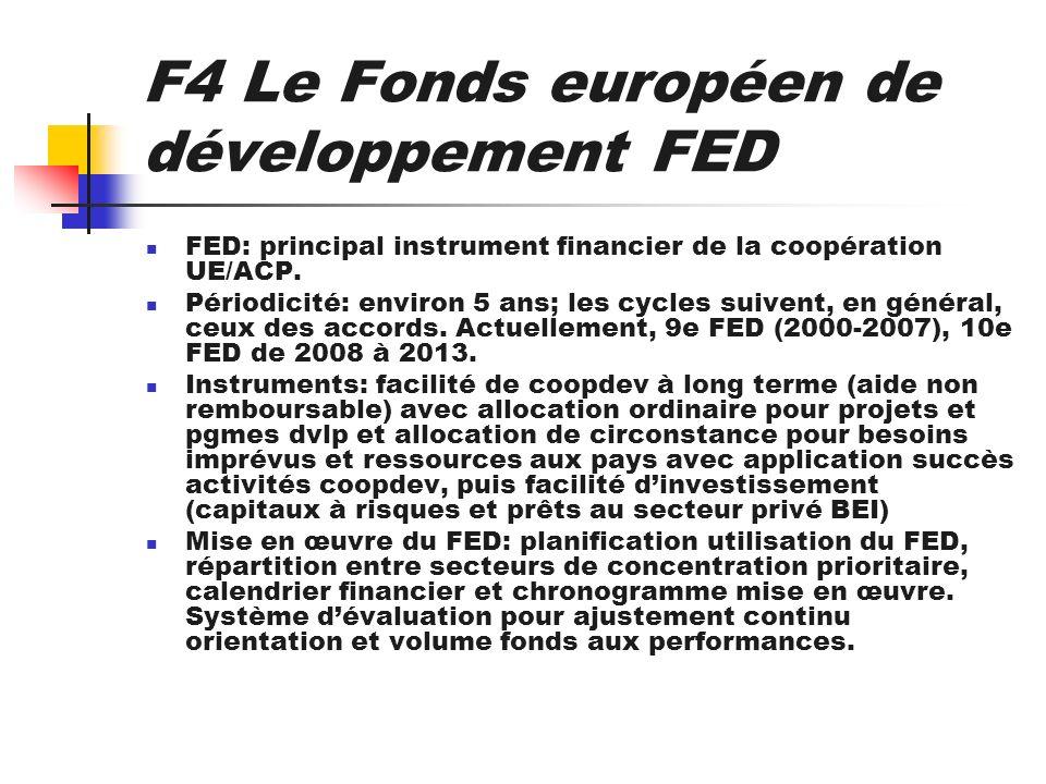 F4 Le Fonds européen de développement FED FED: principal instrument financier de la coopération UE/ACP. Périodicité: environ 5 ans; les cycles suivent