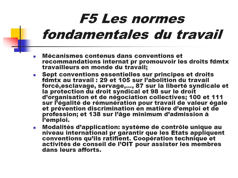F5 Les normes fondamentales du travail Mécanismes contenus dans conventions et recommandations internat pr promouvoir les droits fdmtx travailleurs en