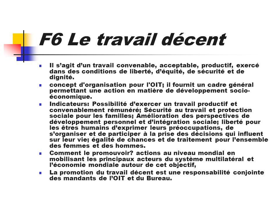 F6 Le travail décent Il sagit dun travail convenable, acceptable, productif, exercé dans des conditions de liberté, déquité, de sécurité et de dignité
