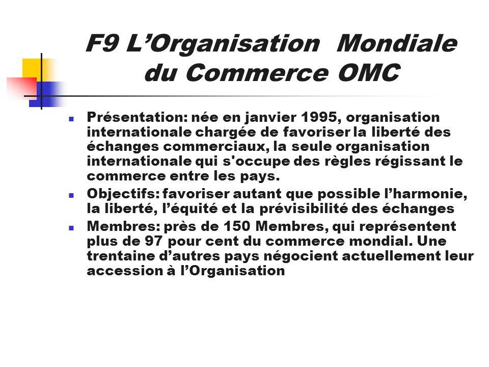 F9 LOrganisation Mondiale du Commerce OMC Présentation: née en janvier 1995, organisation internationale chargée de favoriser la liberté des échanges