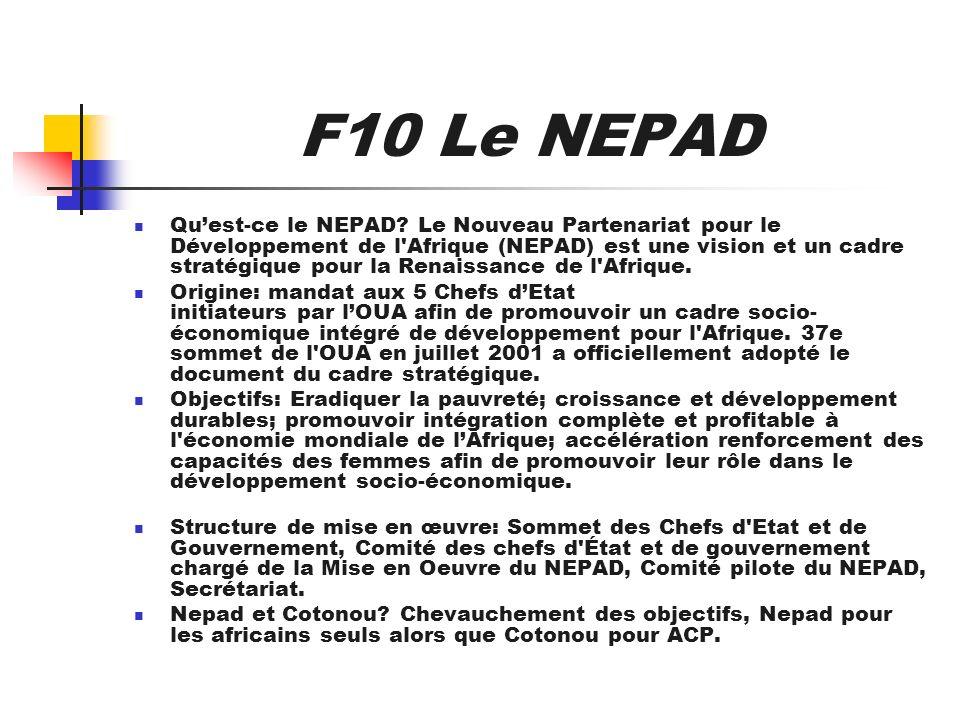 F10 Le NEPAD Quest-ce le NEPAD? Le Nouveau Partenariat pour le Développement de l'Afrique (NEPAD) est une vision et un cadre stratégique pour la Renai
