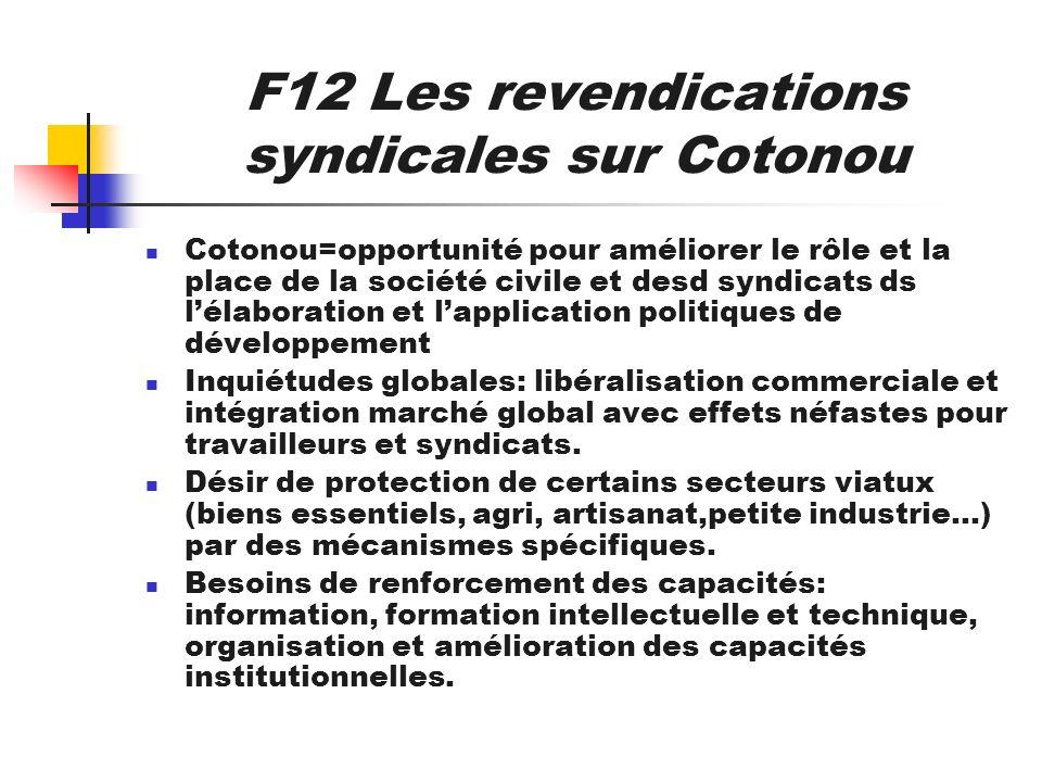 F12 Les revendications syndicales sur Cotonou Cotonou=opportunité pour améliorer le rôle et la place de la société civile et desd syndicats ds lélabor