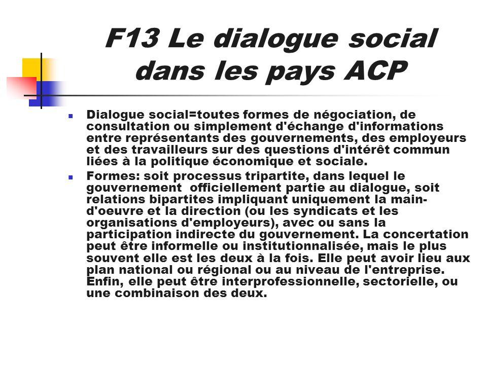 F13 Le dialogue social dans les pays ACP Dialogue social=toutes formes de négociation, de consultation ou simplement d'échange d'informations entre re