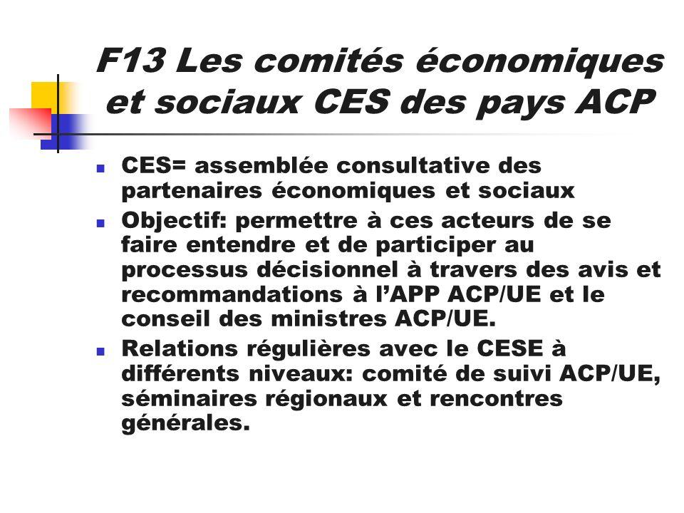 F13 Les comités économiques et sociaux CES des pays ACP CES= assemblée consultative des partenaires économiques et sociaux Objectif: permettre à ces a