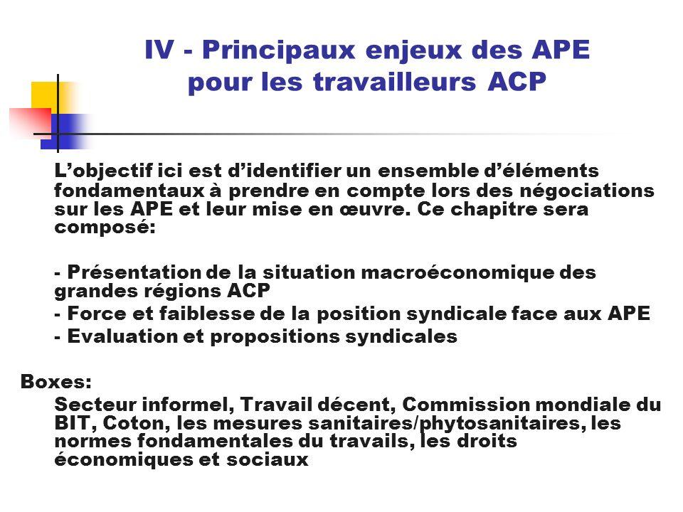 Lobjectif ici est didentifier un ensemble déléments fondamentaux à prendre en compte lors des négociations sur les APE et leur mise en œuvre. Ce chapi