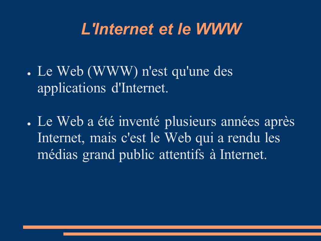 L'Internet et le WWW Le Web (WWW) n'est qu'une des applications d'Internet. Le Web a été inventé plusieurs années après Internet, mais c'est le Web qu