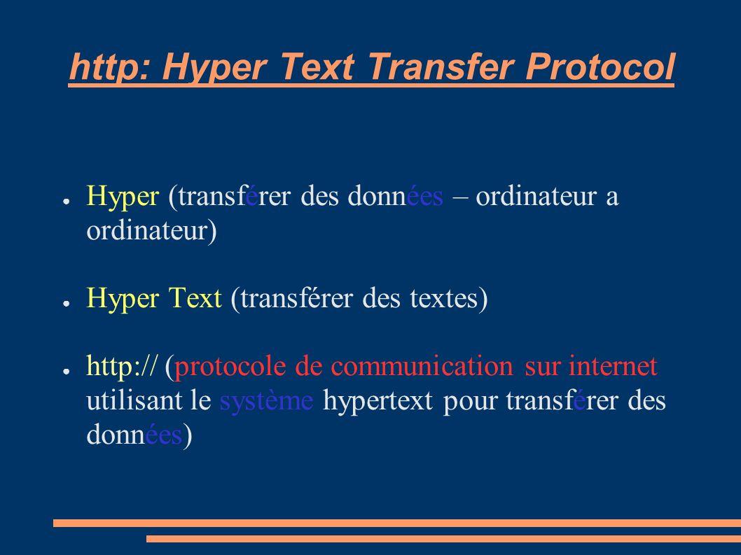 http: Hyper Text Transfer Protocol Hyper (transférer des données – ordinateur a ordinateur) Hyper Text (transférer des textes) http:// (protocole de c