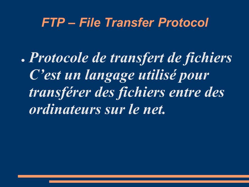 FTP – File Transfer Protocol Protocole de transfert de fichiers Cest un langage utilisé pour transférer des fichiers entre des ordinateurs sur le net.