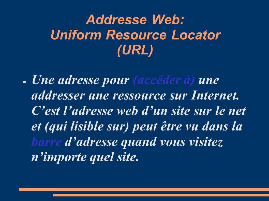 Addresse Web: Uniform Resource Locator (URL) Une adresse pour (accéder à) une addresser une ressource sur Internet. Cest ladresse web dun site sur le