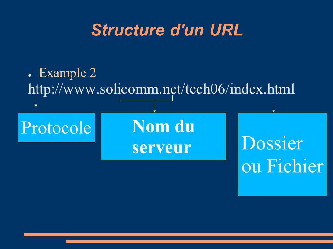 Structure d'un URL Example 2 http://www.solicomm.net/tech06/index.html Protocole Nom du serveur Dossier ou Fichier
