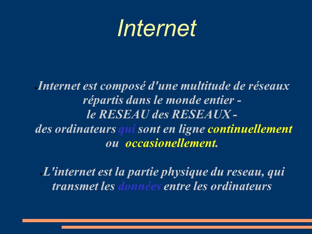Internet est composé d'une multitude de réseaux répartis dans le monde entier - le RESEAU des RESEAUX - des ordinateurs qui sont en ligne continuellem