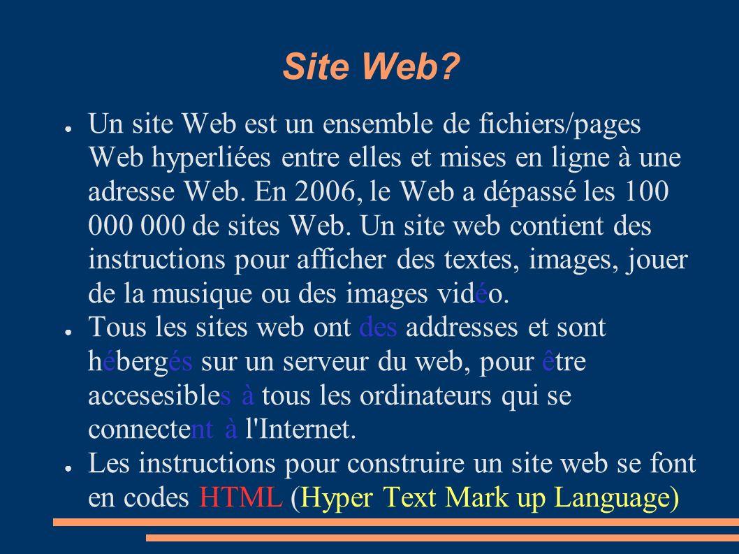 Site Web? Un site Web est un ensemble de fichiers/pages Web hyperliées entre elles et mises en ligne à une adresse Web. En 2006, le Web a dépassé les