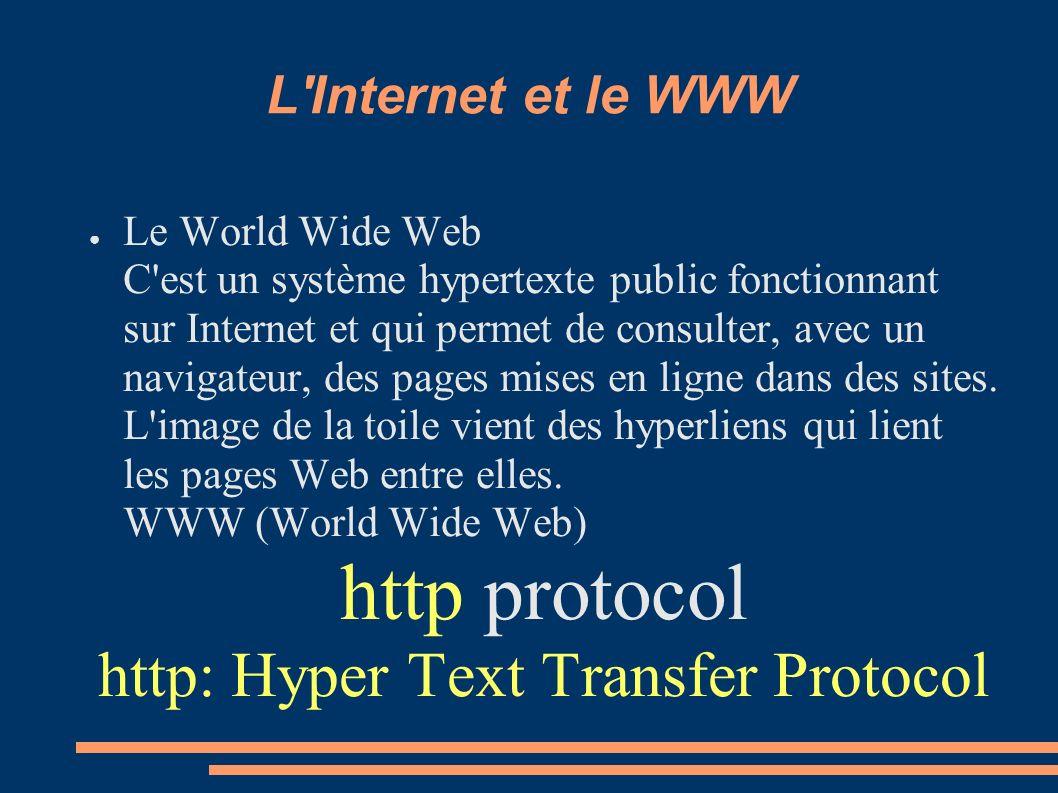 L'Internet et le WWW Le World Wide Web C'est un système hypertexte public fonctionnant sur Internet et qui permet de consulter, avec un navigateur, de