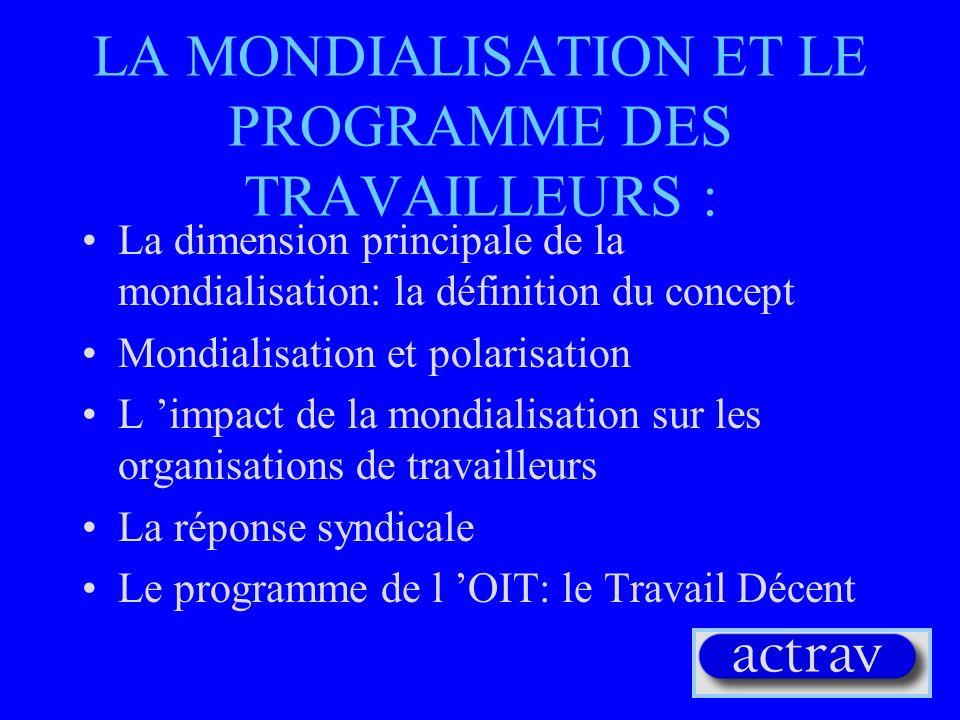 MONDIALISATION DES SYSTEMES POLITIQUES Nouveau système géopolitique Développement des principes démocratiques Droits de l homme et Normes fondamentales du travail comme valeurs universelles