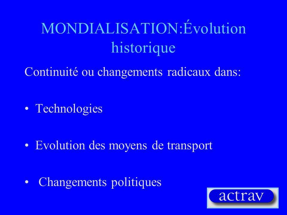 MONDIALISATION:Évolution historique Continuité ou changements radicaux dans: Technologies Evolution des moyens de transport Changements politiques