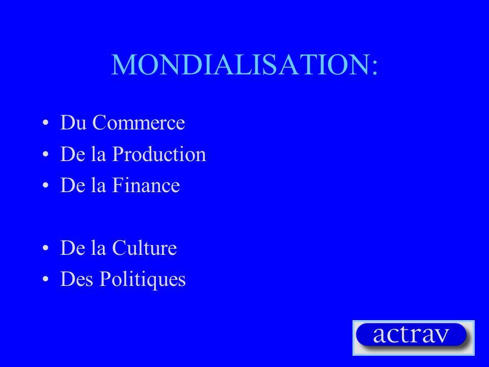 AUTRES FACTEURS DE LA MONDIALISATION (2) Concentration du capital (fusions) Crises fiscales et réduction des provisions fiscales Réduction des tarifs et des barrières commerciales(GATT et OMC) Développement de nouveaux produits (Nouvelle Economie): services et information Fracture numérique