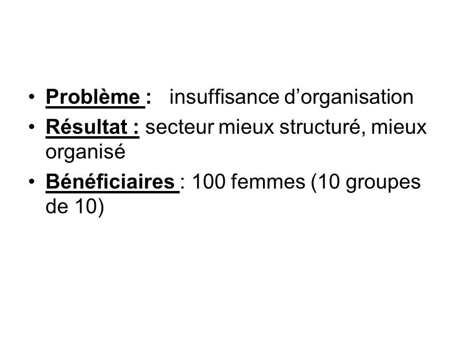 Problème : insuffisance dorganisation Résultat : secteur mieux structuré, mieux organisé Bénéficiaires : 100 femmes (10 groupes de 10)