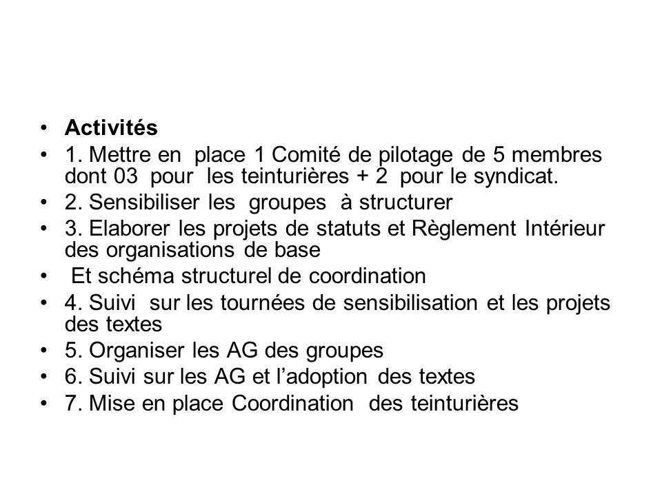 Activités 1. Mettre en place 1 Comité de pilotage de 5 membres dont 03 pour les teinturières + 2 pour le syndicat. 2. Sensibiliser les groupes à struc
