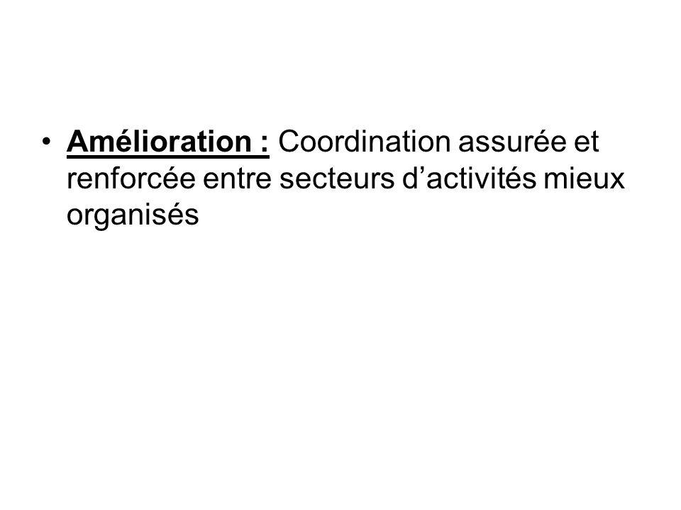 Amélioration : Coordination assurée et renforcée entre secteurs dactivités mieux organisés