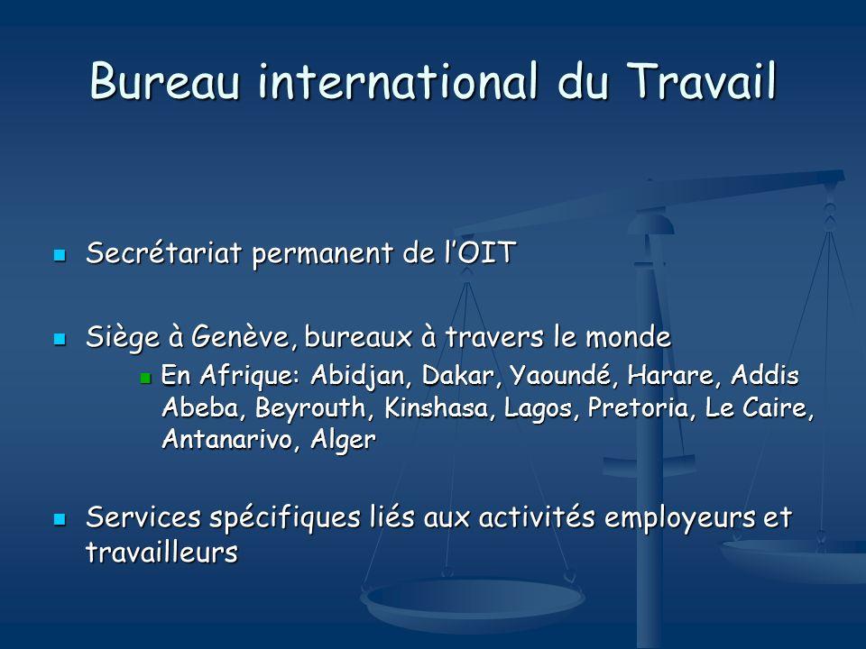 Bureau international du Travail Secrétariat permanent de lOIT Secrétariat permanent de lOIT Siège à Genève, bureaux à travers le monde Siège à Genève,