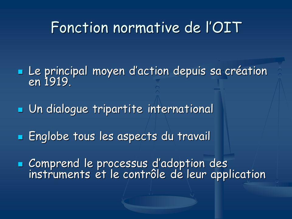 Fonction normative de lOIT Le principal moyen daction depuis sa création en 1919. Le principal moyen daction depuis sa création en 1919. Un dialogue t
