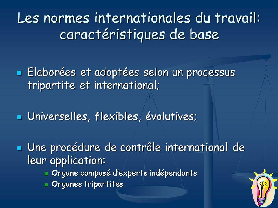 Les normes internationales du travail: caractéristiques de base Elaborées et adoptées selon un processus tripartite et international; Elaborées et ado