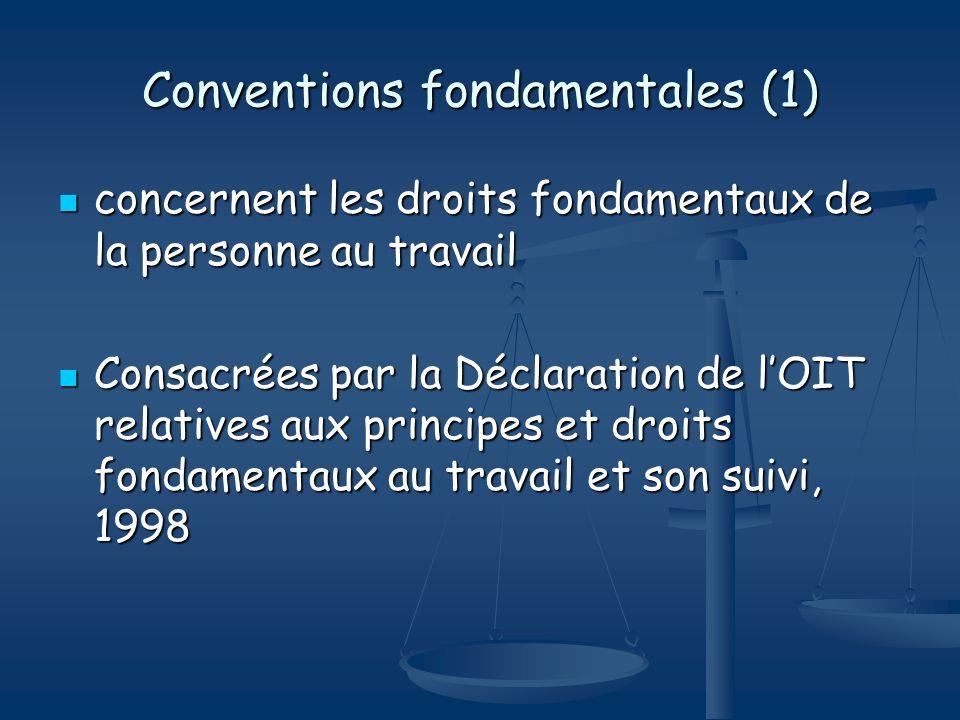 Conventions fondamentales (1) concernent les droits fondamentaux de la personne au travail concernent les droits fondamentaux de la personne au travai