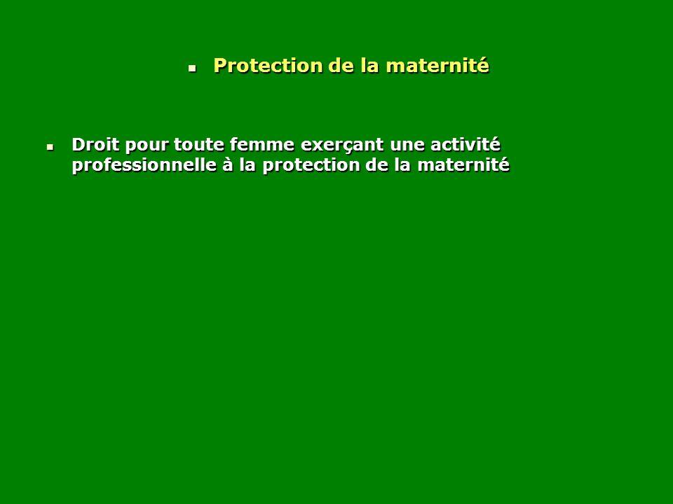 Protection de la maternité Protection de la maternité Droit pour toute femme exerçant une activité professionnelle à la protection de la maternité Dro
