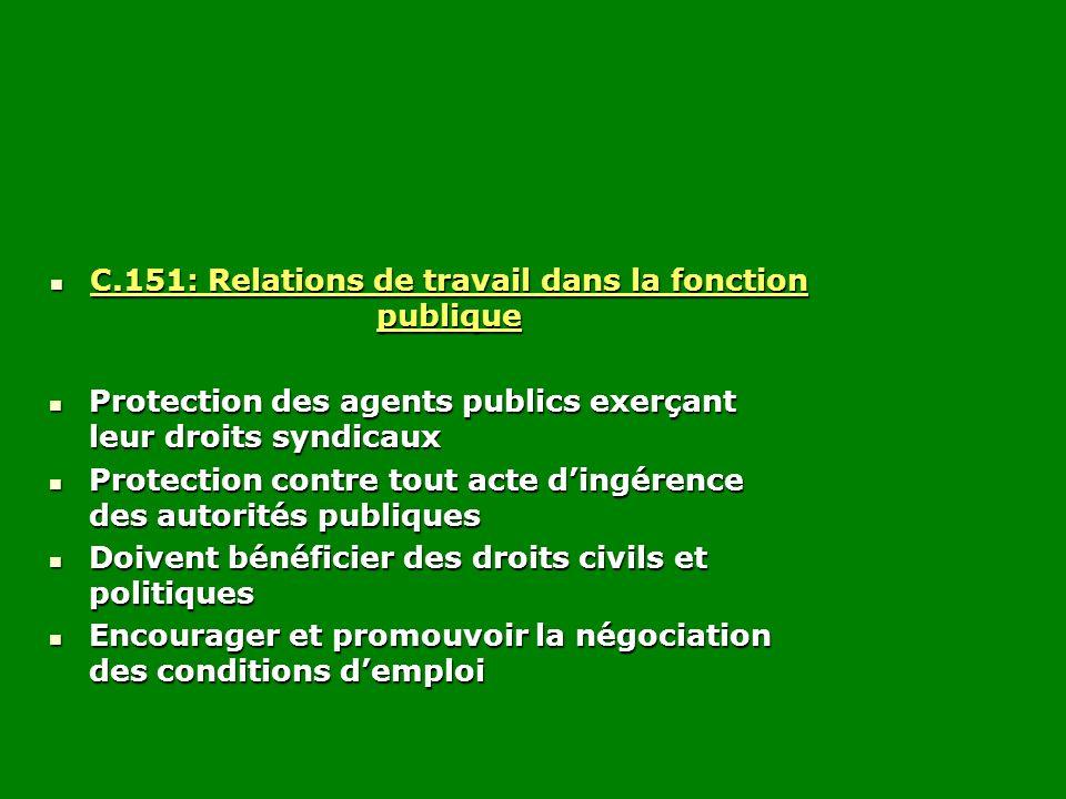 C.151: Relations de travail dans la fonction publique C.151: Relations de travail dans la fonction publique Protection des agents publics exerçant leu